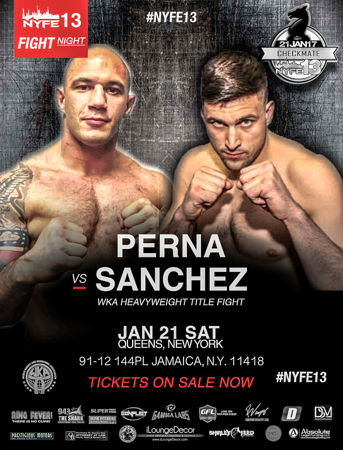 NYFE13_TITLE_Lawrence Perna vs Brett Sanchez WKA HEAVYWEIGHT TITLE FIGHT